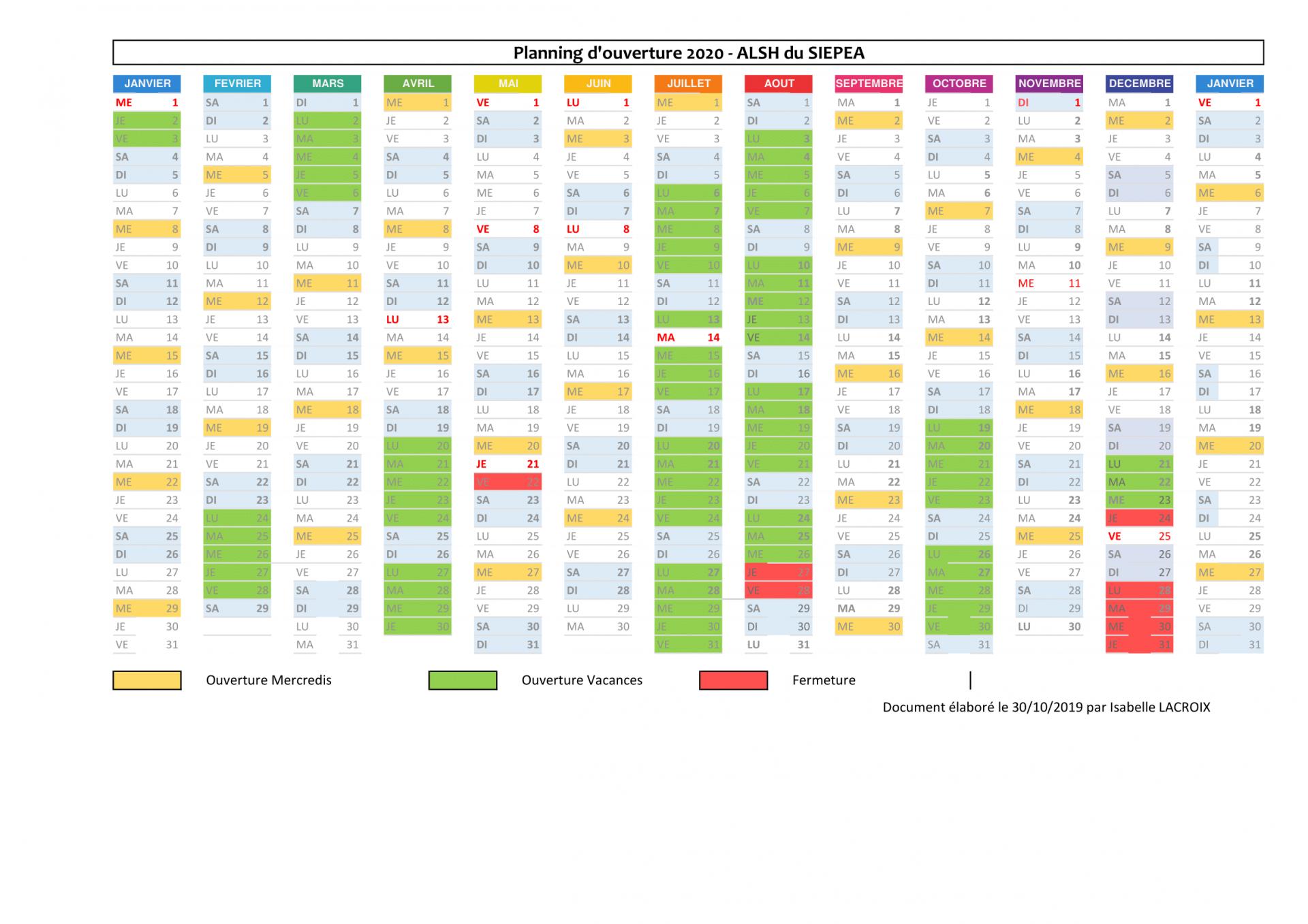 Planning previsionnel alsh 2020